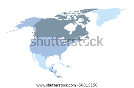 political map of north america in cold blue colors - stock vector