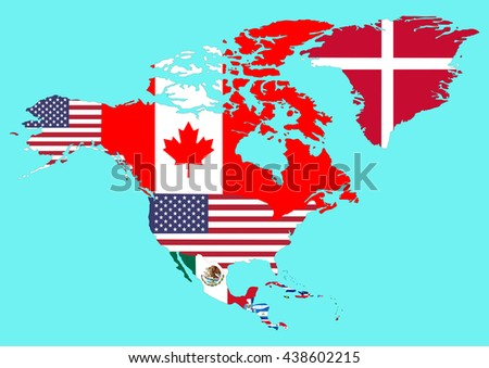 Political map of North America with flags of countries. Vector illustration. Isolated on blue