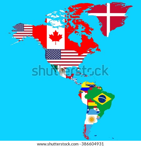 North South America Map Flags Country Stock Vector 481370827 Shutterstock