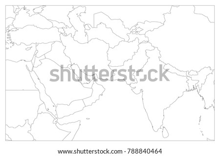 Political Map South Asia Middle East Stock Photo Photo Vector