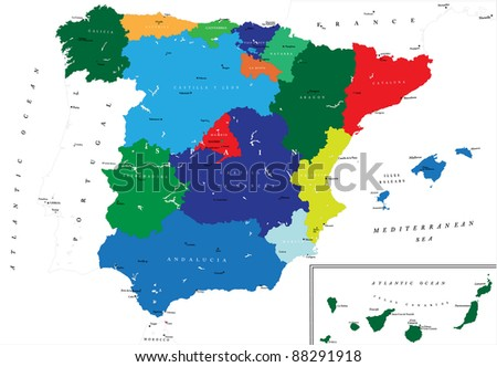 Political map of Spain - stock vector
