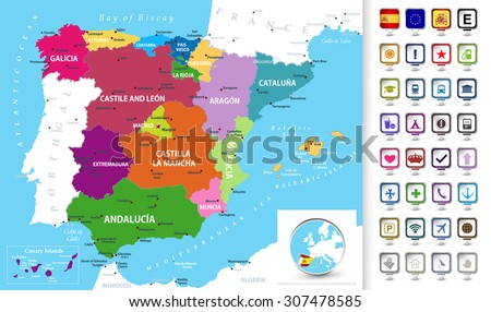 Political map of Spain with administrative divisions (regions), cities and cities and 3D pin pointers collection/Political map of Spain with a 3D pointers.  - stock vector