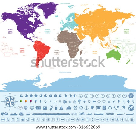 political map of the world colored by continents with icons of location, time zone clocks, transport and other travel stuff signs - stock vector