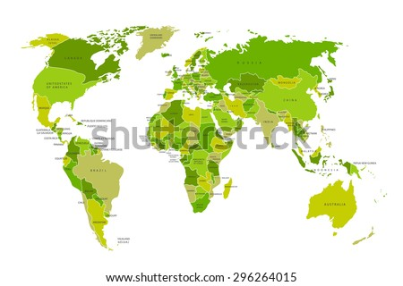 Political map of the world. Colorful world map-countries. Vector illustration