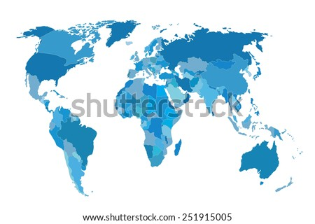Political map of the world. Gray world map-countries. Vector illustration - stock vector