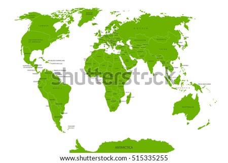 Political map of the world. The green card countries. Vector illustration