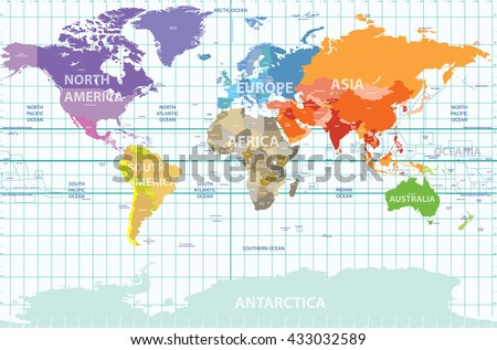political map of the world with all continents separated by color, labeled countries and oceans, and with enumerated longitudes and latitudes on background - stock vector
