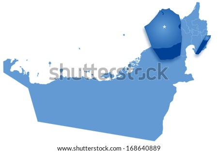 Political map of United Arab Emirates with all Emirates where Dubai is pulled out  - stock vector