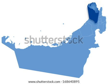 Political map of United Arab Emirates with all Emirates where Umm al -Quwain is pulled out  - stock vector