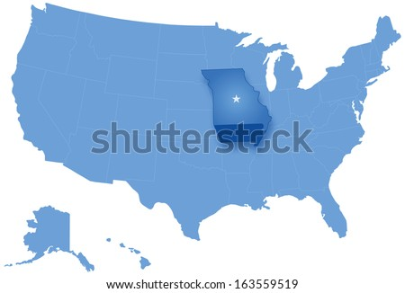 Political map of United States with all states where Missouri is pulled out