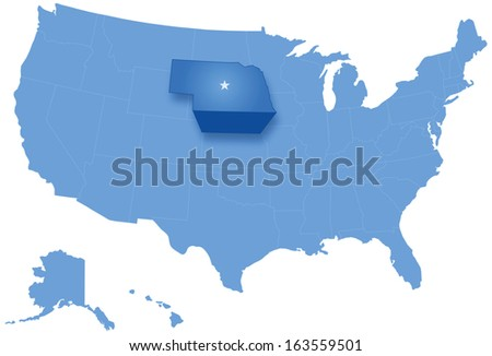Political map of United States with all states where Nebraska is pulled out - stock vector