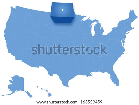 Political map of United States with all states where North Dakota is pulled out