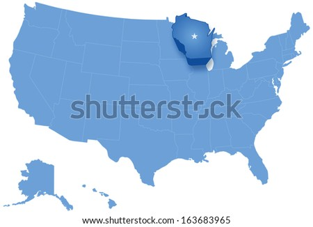 Political map of United States with all states where Wisconsin is pulled out
