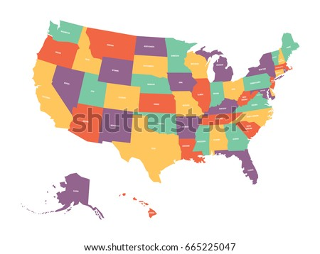 political map of usa united states of america colorful with white state names labels