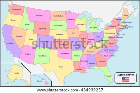 Political Map Usa Names Stock Vector Shutterstock - Political map united states