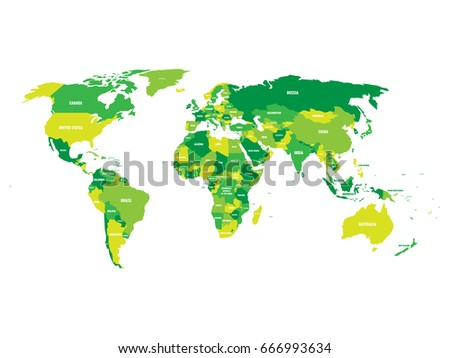 Political Map World Green Scheme Country Stock Vector - World map country labels