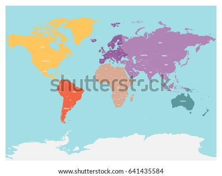 Political Map World Antarctica Continents Different Stock Vector - Different continents of the world