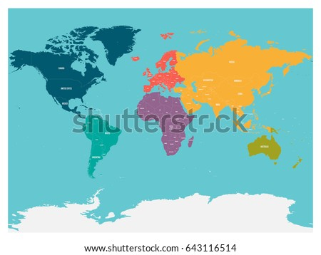 Political Map World Antarctica Continents Different Stock Vector - Political map of world