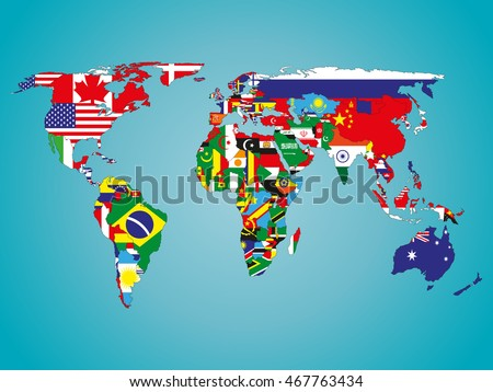 Political map world flags stock vector 467763434 shutterstock political map of world with flags gumiabroncs Images