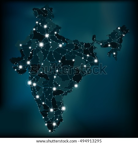 Political night map of India with lights