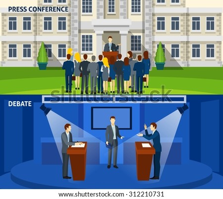 Political  party leader press conference and  presidential election debate 2 flat banners set abstract isolated vector illustration. Editable EPS and Render in JPG format - stock vector