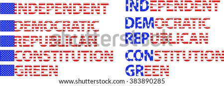 Political Party Names: Democratic, Republican, Independent, Constitution, Green - stock vector