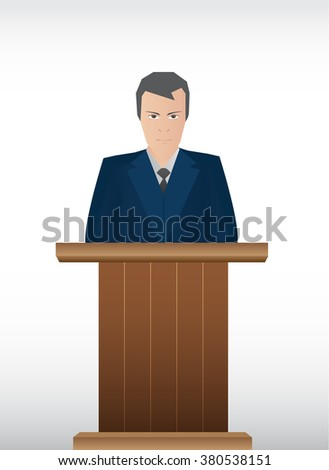 Political speaker businessman with podium - stock vector