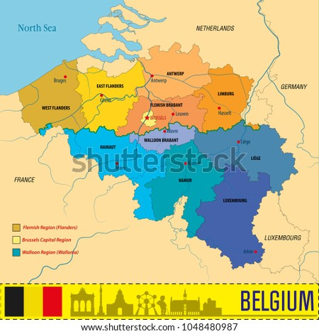 political vector map of belgium with all regions all layers clearly separated