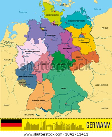 political vector map of germany with regions and their capitals all layers detachabel and labeled