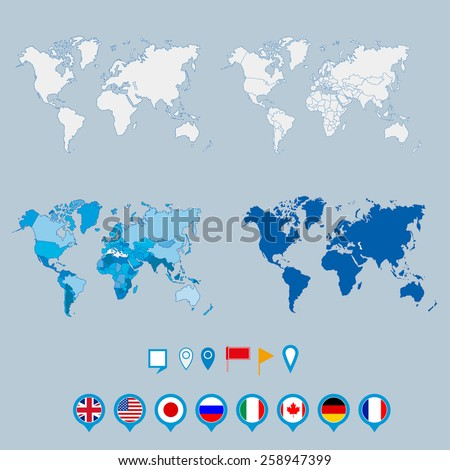 Political World Map and geo tag pin vector illustration. - stock vector