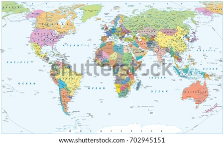 Political World Map - borders, countries and cities. Detailed World Map vector illustration.