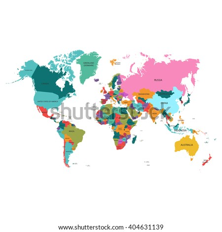 Political World Map. Detailed World map of rainbow colors.