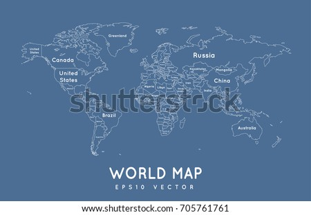 Political world map outline name borders stock vector 705761761 political world map in outline with the name and borders of the countries gumiabroncs Image collections