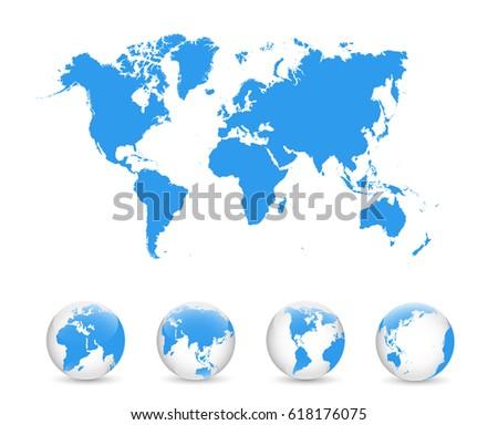 World Map Globe Detail Vector Illustration Stock Vector - World map glob