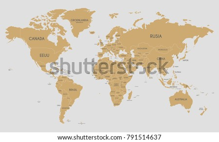Political world map vector illustration country vectores en stock political world map vector illustration with country names in spanish editable and clearly labeled layers gumiabroncs Gallery