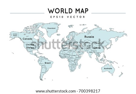 Political World Map Country Names Stock Vector - World map with names