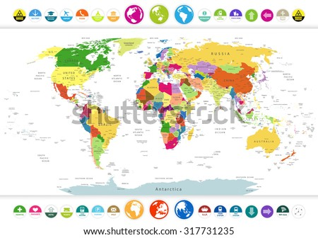 Political World Map with flat icons and globes.Highly detailed political World Map with flat icons and globes.All elements are separated in editable layers clearly labeled. - stock vector