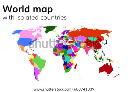 World map continents infographic vector stock vector 284811182 political world map with isolated countries and continents multi colored map gumiabroncs Images