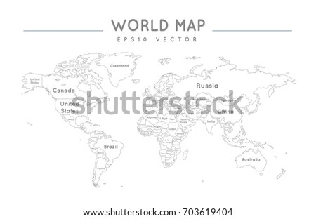 Political world map name borders countries stock vector 703619404 political world map with the name and borders of the countries gumiabroncs Images