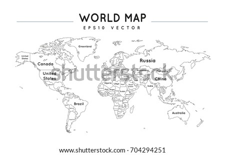 Political world map name borders countries stock vector 704294251 political world map with the name and borders of the countries gumiabroncs Image collections