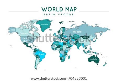 Political World Map Country Names Stock Vector 700398217