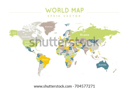 Colorful political world map name borders stock vector 704581030 political world map with the name and borders of the countries gumiabroncs Images