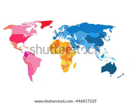 Political World Map. World map blank.
