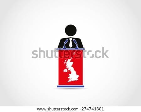 Politician Businessman UK Britain Speech Command  - stock vector