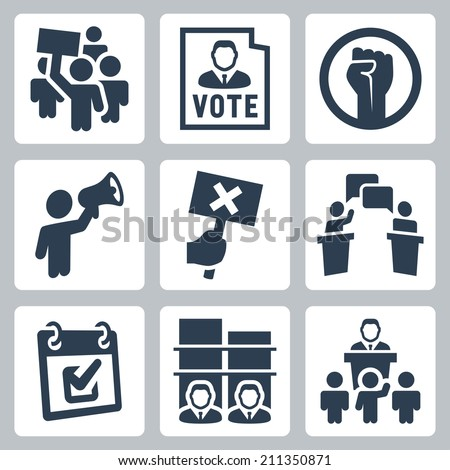 Politics related vector icons set - stock vector
