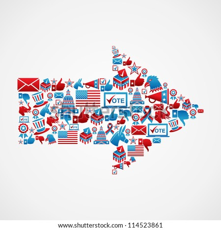 Politics USA election icon set in arrow shape. Vector file layered for easy manipulation and custom coloring. - stock vector