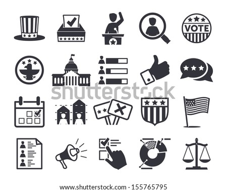 Politics, Voting and elections icons - vector icon set - stock vector