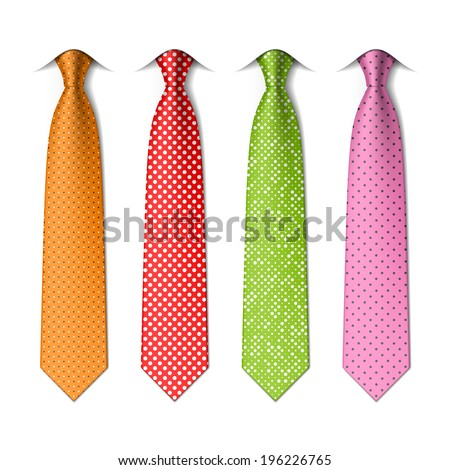 Polka and pin dots silk ties template. Easy editable colors - vector - stock vector