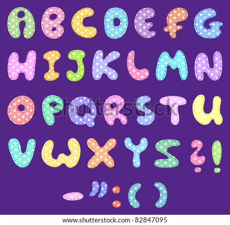 Polka dot alphabet with stitches - stock vector
