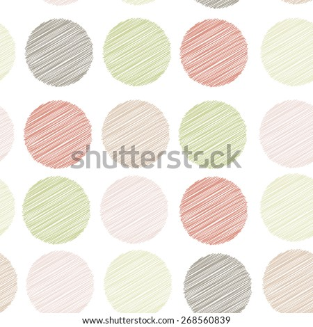 Polka dot background, seamless pattern. embroidery stitches. scribble dot on white background. Vector  - stock vector
